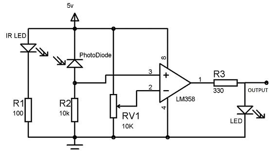 rangkaian sensor cahaya infra merah