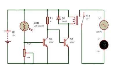 rangkaian sensor cahaya lampu taman