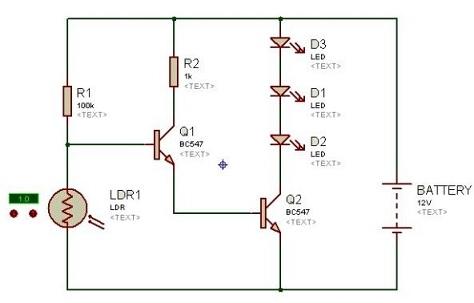 rangkaian sensor cahaya pada lampu led